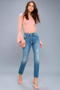501 Skinny Washed Blue Distressed Jeans at Lulus.com!