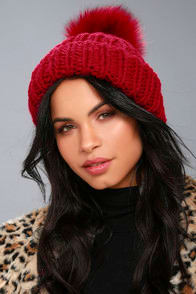 Free People Happy Trails Red Pom Pom Beanie at Lulus.com!