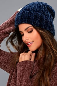 Free People Huggy Bear Navy Blue Chenille Beanie at Lulus.com!