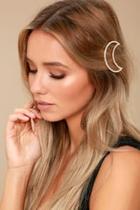 Moon and Sky Gold Rhinestone Hair Clip at Lulus.com!