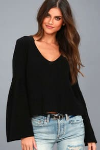 DAMSEL BLACK BELL SLEEVE KNIT SWEATER at Lulus.com!
