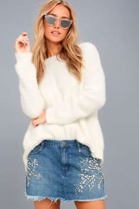Shine Bright Shine Far Medium Wash Denim Rhinestone Mini Skirt at Lulus.com!
