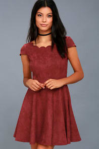 DEAREST DREAMS WINE RED SUEDE SKATER DRESS at Lulus.com!