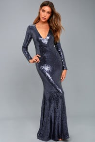 CAPTURE THE MOON NAVY BLUE LONG SLEEVE SEQUIN MAXI DRESS at Lulus.com!