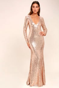 Capture the Moon Rose Gold Long Sleeve Sequin Maxi Dress at Lulus.com!