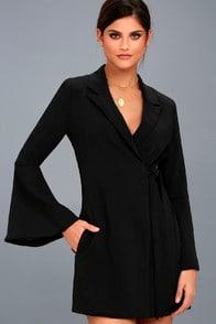 EXECUTIVE MOVE BLACK LONG SLEEVE BLAZER DRESS at Lulus.com!
