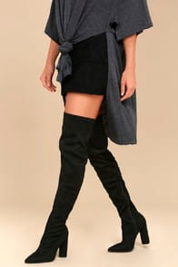 Jenelle Black Suede Over the Knee Boots at Lulus.com!