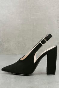 Milan Black Nubuck Slingback Pumps at Lulus.com!