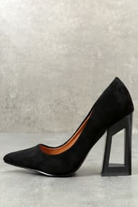 kehlani black suede geometric cutout pumps at Lulus.com!