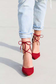 LUNA WINE SUEDE LACE-UP HEELS at Lulus.com!