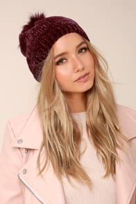 Colorado Peak Burgundy Pom Pom Beanie at Lulus.com!