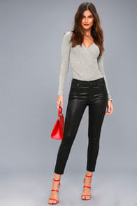 Sophie High Rise Black Vegan Leather Pants at Lulus.com!
