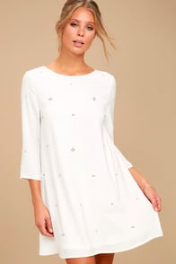 So Precious White Rhinestone Swing Dress at Lulus.com!
