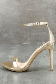 LOVELINESS GOLD ANKLE STRAP HEELS at Lulus.com!