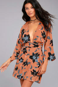 Faithfull the Brand Nova Terra Cotta Floral Print Backless Dress at Lulus.com!