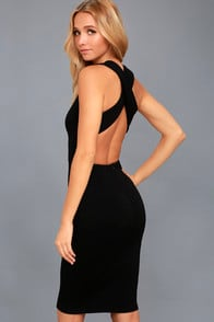 DARLING DANCE BLACK BACKLESS BODYCON MIDI DRESS at Lulus.com!