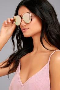 PERVERSE SOLID ROSE GOLD MIRRORED AVIATOR SUNGLASSES at Lulus.com!