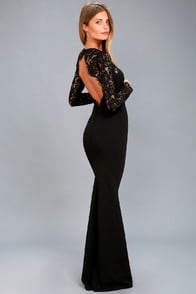 WHENEVER YOU CALL BLACK LACE MAXI DRESS at Lulus.com!