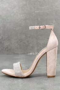 Carrson-R Rhinestone Nude Suede Leather Ankle Strap Heels at Lulus.com!