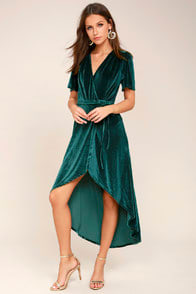 Amour Teal Green Velvet High-Low Wrap Dress at Lulus.com!