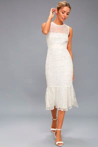 Jeanette White Sequin Midi Dress at Lulus.com!