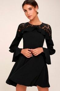 SECRET KISS BLACK LACE LONG SLEEVE SKATER DRESS at Lulus.com!