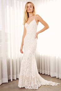 FLYNN WHITE LACE MAXI DRESS at Lulus.com!