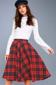 Bristol Navy Blue and Red Plaid Flannel Midi Skirt at Lulus.com!