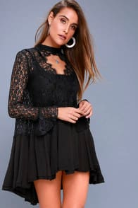 New Tell Tale Black Lace Long Sleeve Tunic at Lulus.com!