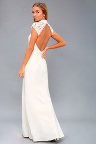CRAZY ABOUT YOU WHITE BACKLESS LACE MAXI DRESS at Lulus.com!