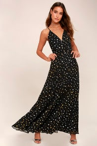 Galactic Goddess Black Star Print Sleeveless Maxi Dress at Lulus.com!