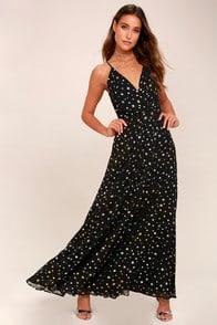 Galactic Goddess Black Star Print Sleeveless Maxi Dress at Lulus.com!
