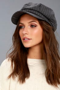 DABNEY GREY STRIPED BAKER BOY CAP at Lulus.com!