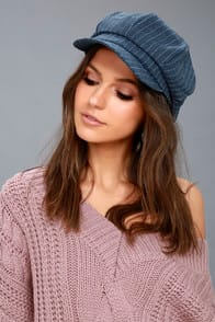 DABNEY DENIM BLUE STRIPED BAKER BOY CAP at Lulus.com!