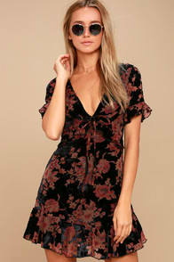 A TOUCH OF MAGIC BLACK FLORAL PRINT VELVET MINI DRESS at Lulus.com!