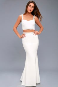 WYNNE WHITE BEADED TWO-PIECE MAXI DRESS at Lulus.com!