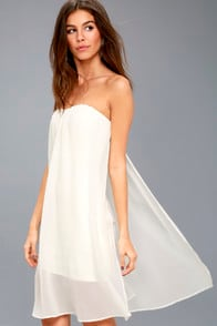 Allure of It All White Strapless Dress at Lulus.com!