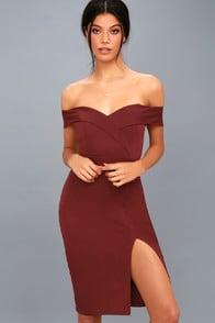New Sensation Burgundy Off-the-Shoulder Bodycon Dress at Lulus.com!