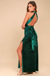 DREAMS OF SHEEN FOREST GREEN VELVET CONVERTIBLE MAXI DRESS at Lulus.com!