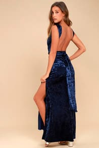 DREAMS OF SHEEN NAVY BLUE VELVET CONVERTIBLE MAXI DRESS at Lulus.com!