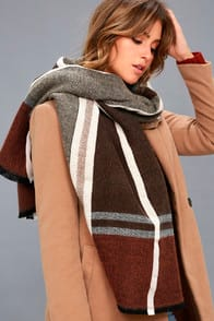 Prep School Brown and Red Plaid Scarf at Lulus.com!
