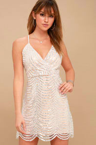 LELE WHITE AND SILVER SEQUIN MINI DRESS at Lulus.com!