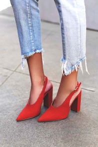 Milan Red Nubuck Slingback Pumps at Lulus.com!