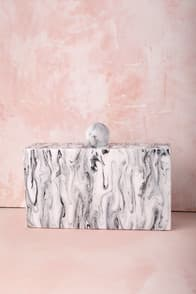 VALYN WHITE MARBLE CLUTCH at Lulus.com!