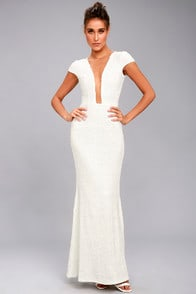 DRESS THE POPULATION MICHELLE WHITE SEQUIN MAXI DRESS at Lulus.com!