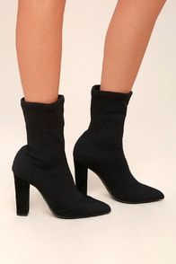 Viola Black Knit Mid-Calf Sock Boots at Lulus.com!