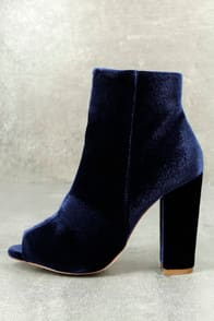 MILLIE BLUE VELVET PEEP-TOE ANKLE BOOTIES at Lulus.com!