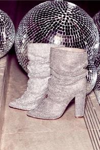 Duchess Silver Rhinestone Mid-Calf Boots at Lulus.com!