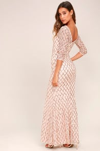 Pick of the Glitter Rose Gold Sequin Maxi Dress at Lulus.com!