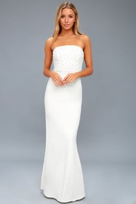 Blair White Pearl Strapless Maxi Dress at Lulus.com!